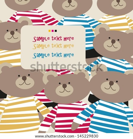many beautiful bears in the pants pattern - stock vector