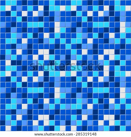 Many blue shades abstract tiling geometric texture. Black, light and dark blue and white color mosaic tile background. vector art image illustration pattern for swimming pool, spa, kitchen, bath room - stock vector