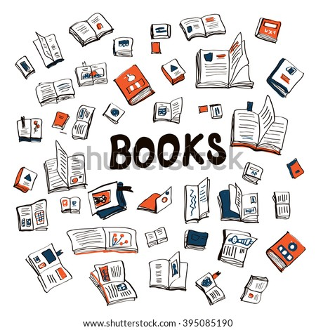 Many books sketchy background - vector illustration - stock vector