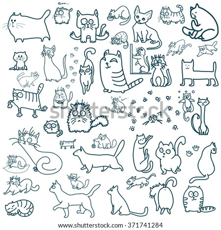 Many cats. Linear cats. Cool cats. Cute cats. Hand drawn cats. - stock vector