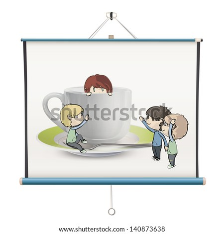 Many children around cup of tea inside a projector screen. Vector design