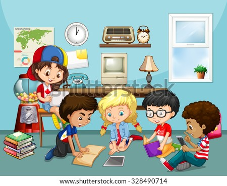 Many children working in classroom illustration - stock vector