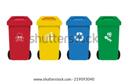 many color  bins set with waste icon, illustration of waste management concept - stock vector
