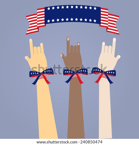 many colored people's hands with USA's flag color ribbons on blue background - stock vector