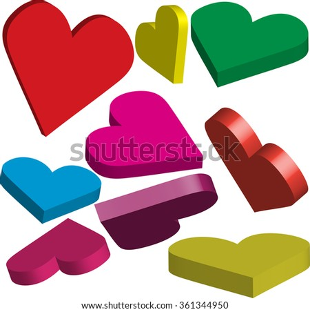 Many colorful 3 dimensional hearts. Signs and symbols of love. - stock vector