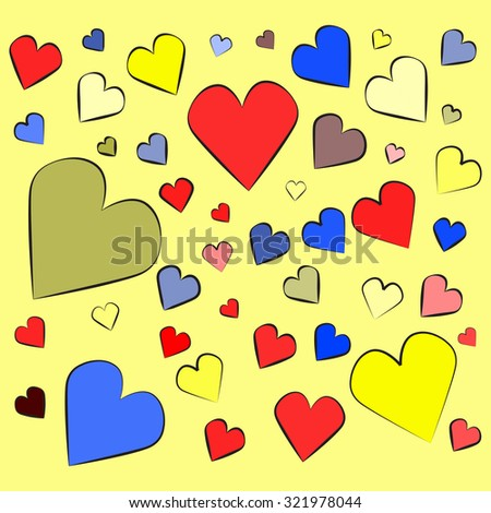 Many colorful hearts of different sizes pattern. Heart vector.