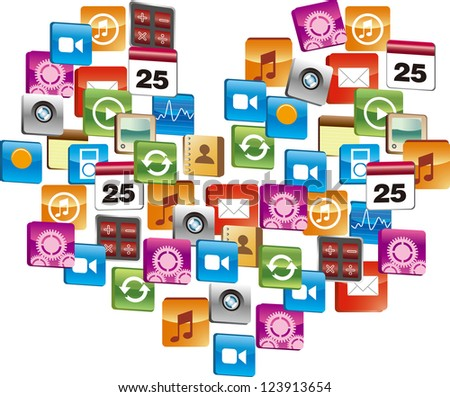 Many computer icon make heart-shaped - stock vector