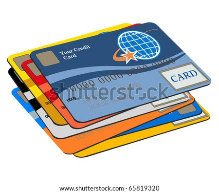 Many credit cards on a white background