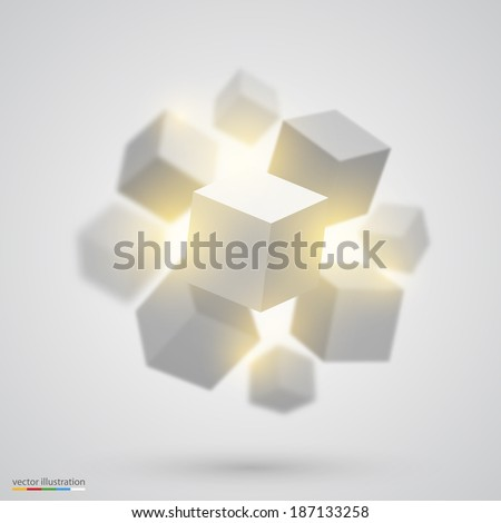 Many cubes. Vector - stock vector
