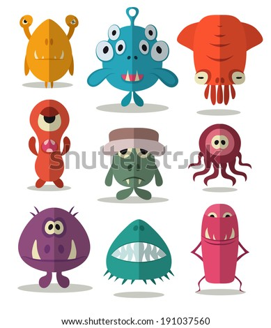 Many cute doodle monsters - stock vector