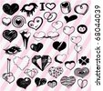 Many Cute Hearts Hand Drawn Outline - stock vector