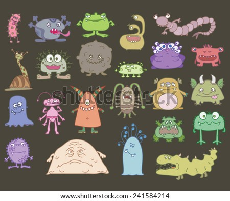 many different scary monsters on a white background - stock vector
