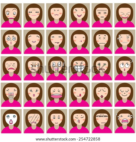 many emotion girl face and pink dress - stock vector