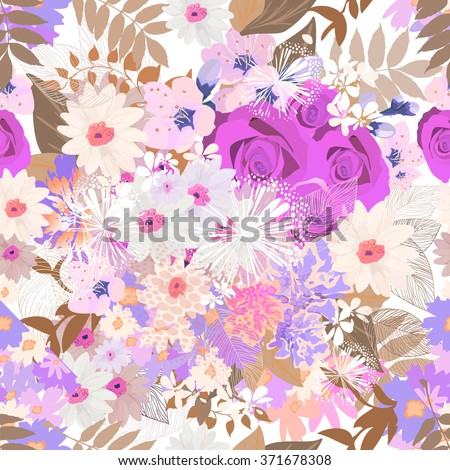 many flowers seamless background. vector - stock vector