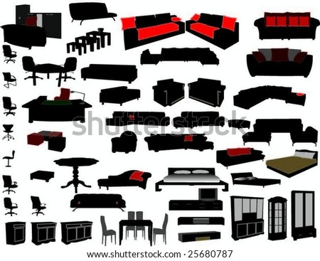 many furniture silhouettes - stock vector
