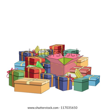 Many gift boxes together. Vector illustration. - stock vector