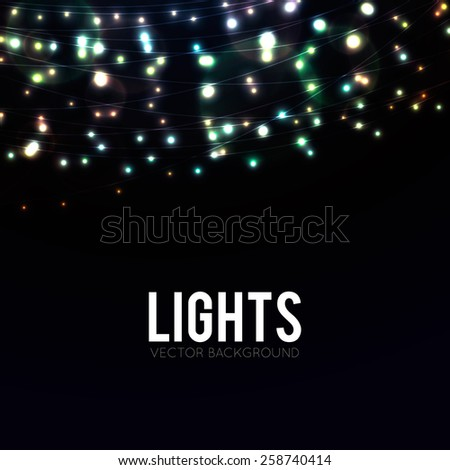 Many glowing lights on strings, background with garlands and place for text - stock vector
