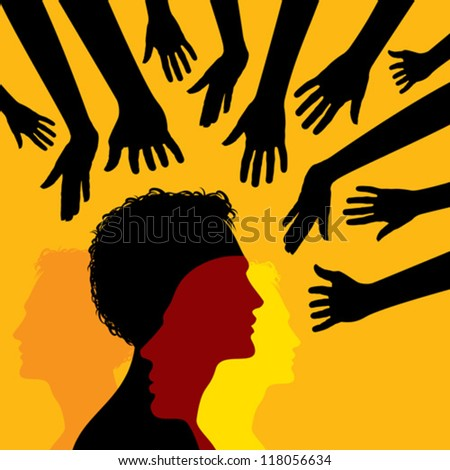 many hands and silhouette man - stock vector
