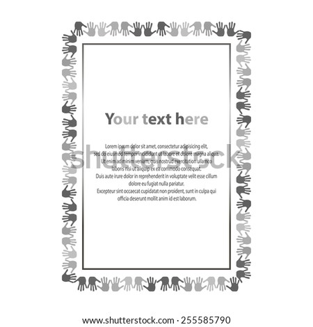 Many hands frame. Grayscale card - stock vector