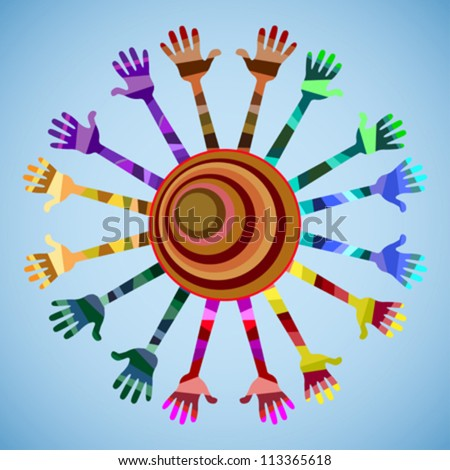 many hands of different colors. hands raised up. in the center of the circle - stock vector