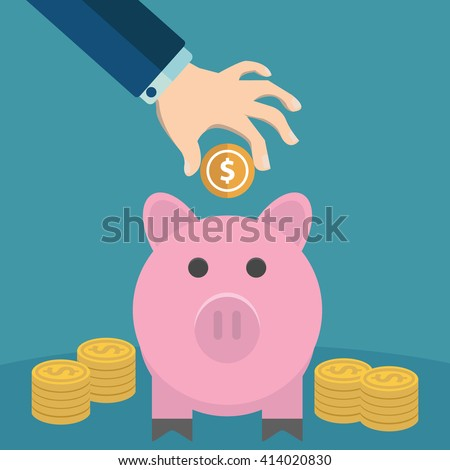 Many hands putting coin and money into a piggy bank. Saving and investing money concept. vector illustration in flat design. infographics web design elements - stock vector