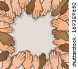 Many hands reaching towards one another  - stock vector