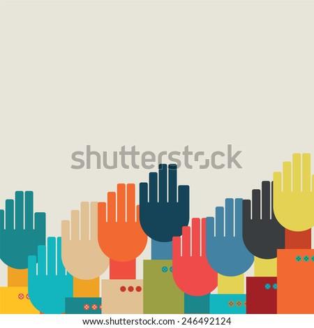 many hands.vector illustration. - stock vector