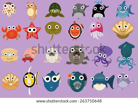 many kind of sea animals in flat design - stock vector