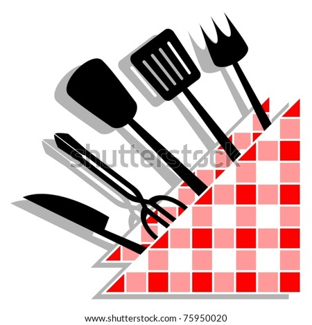 Many kitchen utensils decorated with a napkin design - stock vector
