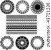 Many Lace Border Ornaments. Black And White Vector Illustration. - stock vector