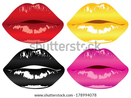 many lips, fashion - stock vector
