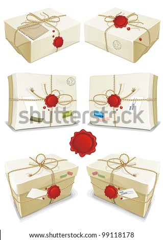 Many parcels wrapped in white paper tied with twine isolated on white background. Vector illustration set. - stock vector