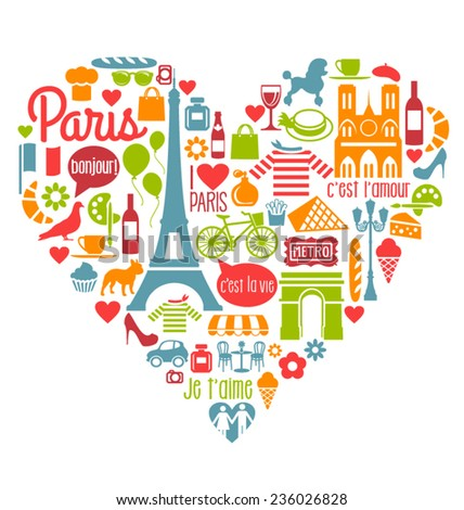 Many Paris France Icons Landmarks and attractions in a heart shape - stock vector