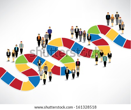 Many people finding way and solution conceptual vector design - stock vector