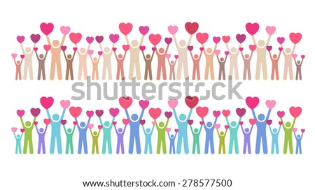 Many people giving their love  - stock vector
