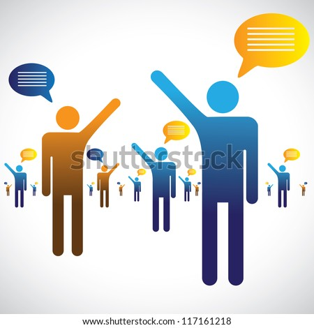 Many people talking, speaking or chatting graphic. The illustration shows many people symbols with chat icons speaking with one an other - stock vector