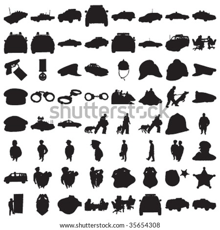 Many Police Silhouettes 2 - stock vector