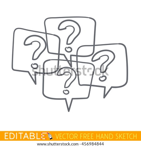 Many question icon. Editable vector grapfic in linear style. - stock vector