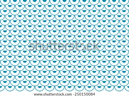 Many semi-arches filled with semi-circles in blue offset set in rows on a pastel blue background - stock vector