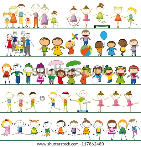 Many sets of boys, girls and family - stock vector