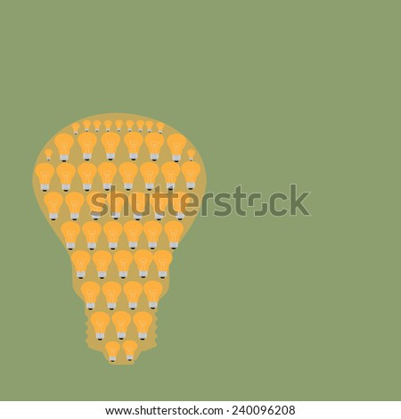 Many small ideas equal a big one on green - stock vector