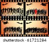 many soldier groups in film strips - stock vector