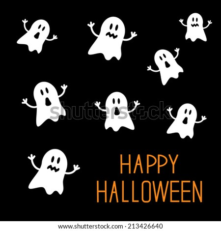 Many spook ghosts. Happy Halloween card. Flat design. Vector illustration - stock vector
