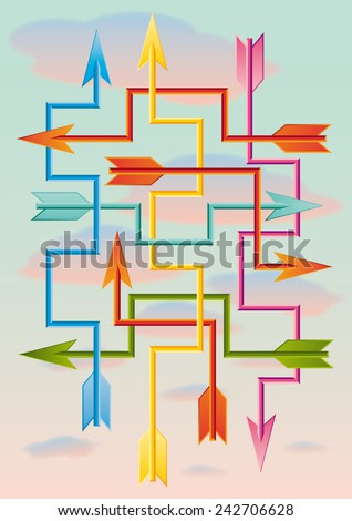 many squared arrows flying in all directions - stock vector