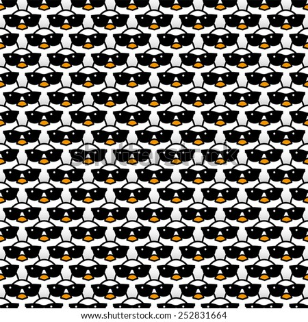 Many Staring White Chicks Wearing Cool Black Sunglasses Staring at camera in a Pattern - stock vector