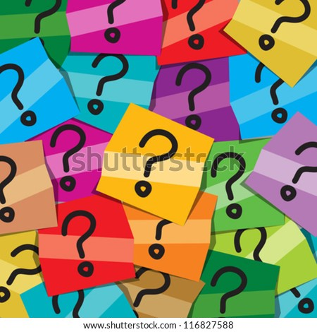 Many sticky notes with questions all posted on an office note board to represent confusion - stock vector