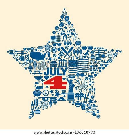 Many 4th of July icons collage design - stock vector