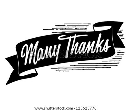 Many Thanks Banner - Retro Clipart Illustration - stock vector