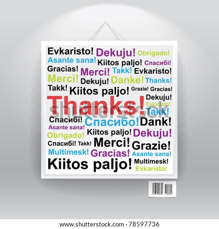 Many thanks in differenr languages on board. - stock vector