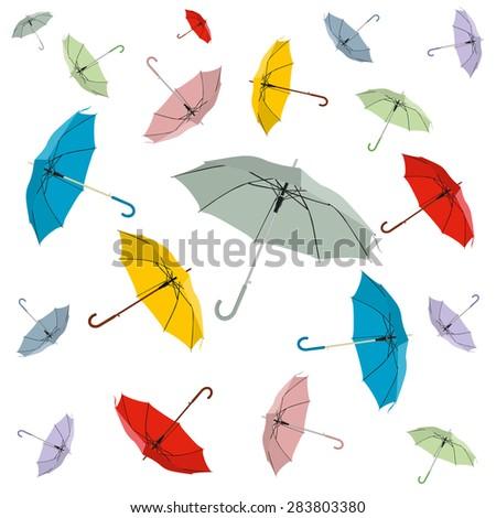 many umbrellas - stock vector